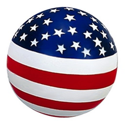 Round stress ball with US flag painting